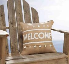 """Mud Pie WELCOME Burlap 15"""" Decorative Sea Shell Throw Pillow Wrap Summer Set New"""