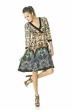 Eva Varro Black Leopard Print 3/4 Sleeve Empire M Wrap Dress L New