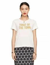 NEW KATE SPADE Toast of the Town Gold Glitter Letter Tee Shirt Top white XS