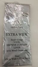 "EXTRA WIDE 108"" x 72"" CLEAR VINYL SHOWER CURTAIN LINER HEAVY 5 GUAGE GROMMETS"