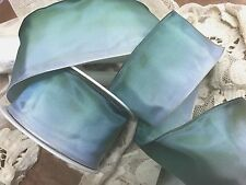 """VINTAGE 2"""" FRENCH RIBBON wire OMBRE 1yd AQUA BLUE GREEN Made in France"""