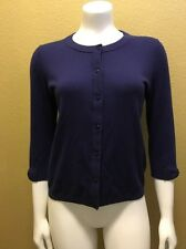 KATE SPADE Navy 3/4 Sleeve Cardigan w/Bow Applique on Sleeve M Original $198 EUC