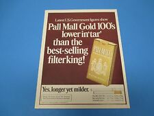 1973 Pall Mall Gold 100's Famous Cigarettes Longer Yet Milder Print Ad PA010