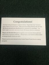 Rightside Up Jenny Official Congratulations Card Notifying The Customer. 1of 100