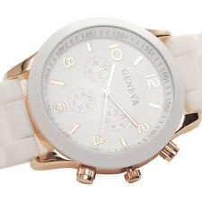 reloj de pulsera elegante blanco banda de goma cuarzo deporte para las mujeres