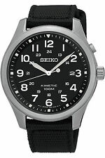 NEW SEIKO SKA727P1,Men's Kinetic,MIlitary Look,Steel Case,Date,Fabric,100m WR,