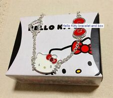 Genuine Sanrio Hello Kitty Silver-Plated Red Bow/Heart Bracelet Boxed Brand New