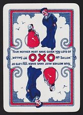 1 SINGLE VINTAGE PLAYING SWAP CARD OLD WIDE ADVERT OXO REVERSIBLE SAILOR & GIRL