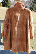 Vintage Natural Red / Auburn / Cognac  100% Real Fur Swing Coat Jacket