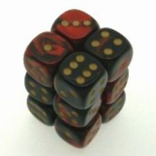 12 d6 Dice Set Chessex GEMINI BLACK RED gold 26633 NERO ROSSO oro Dadi Dado Die