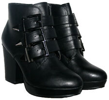 "LADIES  BLACK 4"" HEEL ANKLE BOOT WITH STRAPS TRIM AND SIDE ZIP IN SIZE 5"