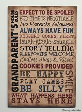 Vintage Primitive wood sign GRANDPARENTS RULES Family Gift Home wall Decor