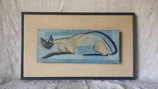 Mid Century Modernism RARE Ruth Osgood Siamese Cat Oil Painting on Board