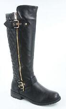 Women's Buckle Quilted Zipper Round Toe Knee High Low Heel Boots SZ 5.5 -10 NEW