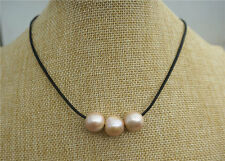 """18"""" Beach Bride Boho Brown Leather Genuine 14mm Pink Pearl Necklace"""