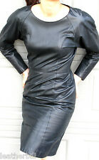 FITTED BLACK LEATHER DRESS-  size SMALL   FIRENZE
