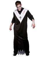 Mens Adults Zombie Priest Horror Scary Fancy Dress Halloween Costume Outfit New