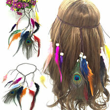 HOT! Indian Feather Headband Handmade Weave Hair Rope Headdress Hair Accessories