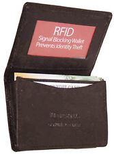 Brown RFID Security Safe Leather Expandable Credit Card ID Business Case Wallet