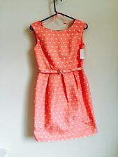 New Eliza J Sheath Dress Belted Sleeveless Polka Dot Pink White Pockets 6