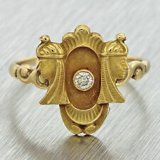1880s Antique Victorian 14k Yellow Gold .05ct Diamond Egyptian Revival Ring