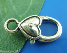 20Pcs Silver Tone Heart&Love Lobster Clasps 27x13mm