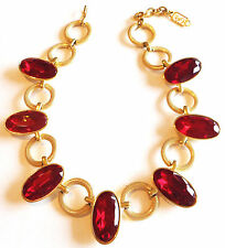YVES SAINT LAURENT *YSL* SIGNED SCARLET RED VINTAGE COUTURE RUNWAY NECKLACE