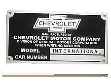 1927 1928 1929 1930 1931   INTERNATIONAL CHEVY CAR INFO DATA ID PLATE