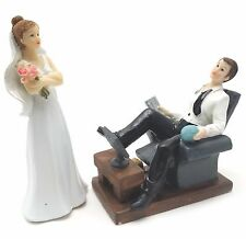 Bride and Groom Cake top funny couple lazy relaxing groom whimsical statue