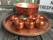 9 Piece Vintage COPPERCRAFT GUILD Copper Roly Poly punch Cups, Punch Bowl & Tray