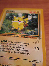 PL 1st edition W Stamped Pokemon PIKACHU Card JUNGLE Set PROMO 60/64 Gold Wizard