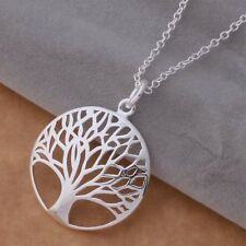 925 Sterling Silver Filigree Fashion Tree of Life Charm Round Necklace Pendant