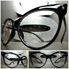 CLASSIC VINTAGE RETRO CAT EYE Style Clear Lens EYE GLASSES Black Fashion Frame