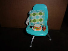 Barbie Doll Fashion Fever Blue Mod Chair Dot Throw Pillow Sandwich Drink too!
