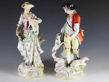 PAIR: 18th c. Ludwigsburg Figurines of Woman & Man with Dogs & Sheep