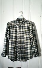 FIELD & STREAM MEN'S MEDIUM BEIGE AND BLUE PLAID FLANNEL SHIRT LONG SLEEVE FLAP