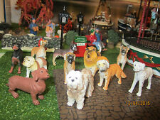 "TRAIN GARDEN VILLAGE HOUSE  "" DOGS, DOGS, DOGS  12pc SET "" + DEPT 56/LEMAX INFO"