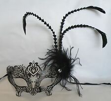 Black Metal With Long Feathers Masquerade Mask * NEW * - Express Post Option