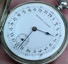 UNUSUAL ANTIQUE SOLID SILVER KEY WIND KENDAL & DENT POCKET WATCH, CIRCA 1900s.