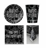 Glitz Black Prism Birthday Partyware Plates Cups Napkins Table Cover Banner