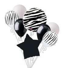 Zebra Print Balloon Bouquet Happy Birthday Baby Shower Animal Safari Stripes 8pc
