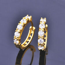 Womens Girls Vintage jewelry cute Hoop earrings Yellow gold filled round crystal