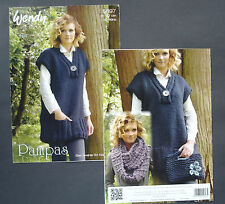 Wendy Pampas Knit ladies tunic jumper &bag & cowl Knitting Pattern 5697