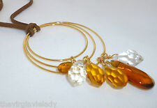 Virgin Vie at Home 'SUNKISSED' Necklace Gold Brown Amber *NEW* Gift