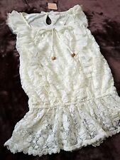 LIZ LISA See-through lace&Ruffle Back ribbon Tunic blouse/Tops Japan SizeM Hime