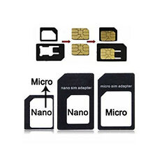 3 Pack Adapter Set - Micro SIM, Nano SIM & Standard SIM adapters iPhone 5 4S 4