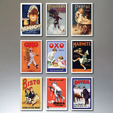 9 Vintage Retro Advert Poster Fridge Magnets Art Deco  No.1