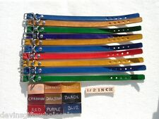 "#DC40*LOT OF 10 REAL  LEATHER  PUPPY-CAT COLLARS 1/2""w"