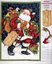 Christmas Fabric -  Santa Claus Sled Holiday Presents Ho Ho Snow CP46820 - PANEL