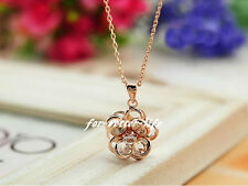18K Rose Gold Gp Austrian Crystal Beauty-Flower Necklace Free shipping FB650